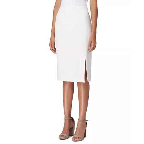Tahari ASL Women's Front-Slit Crepe Pencil Skirt Natural Size 2