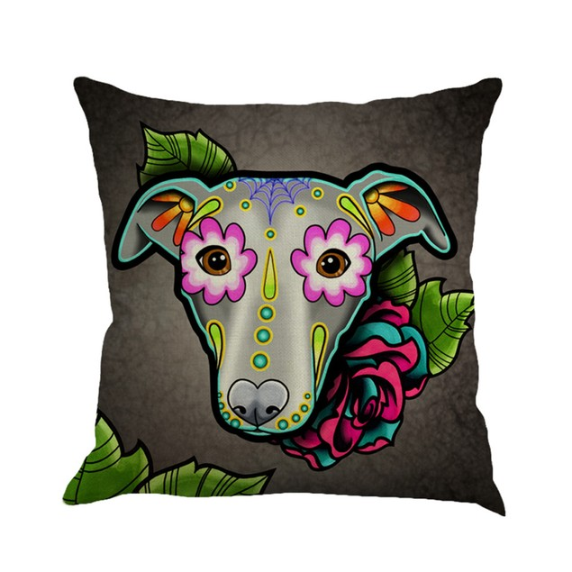Greyhound Painting Linen Cushion Cover Throw Pillow Case Sofa Home Decor