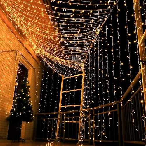 300 LED Window Curtain String Lights with Remote Control