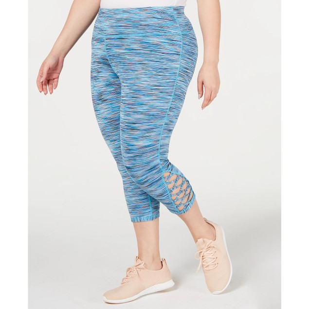 Ideology Women's Space Dyed Cropped Leggings Blue Size 3X