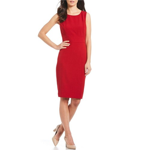 Kasper Women's Stretch Crepe Sheath Dress Red Size 4