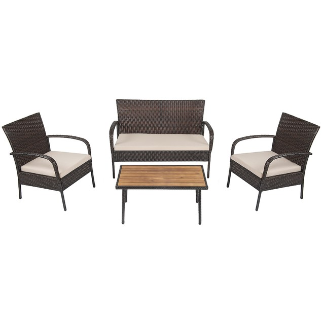 Costway 4PCS Patio Rattan Furniture Set Outdoor Conversation Set Coffee Tab