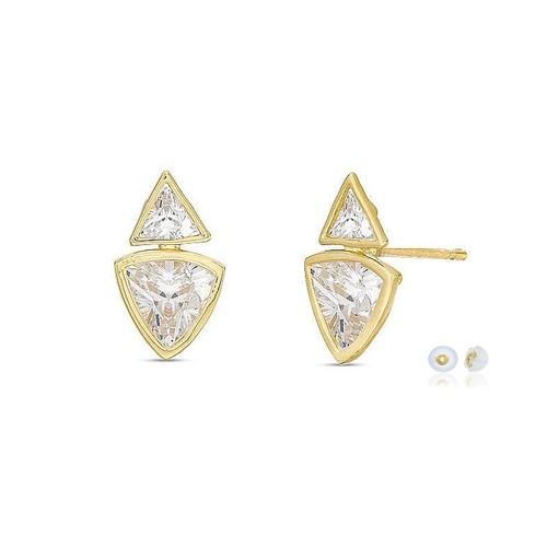 10K Solid YG Cubic Zircon Geometric Bezel Setting Triangle Earring
