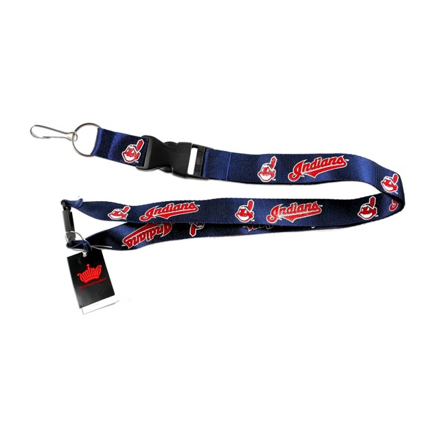 Cleveland Indians MLB Lanyard Keychain Id Holder Ticket - Black