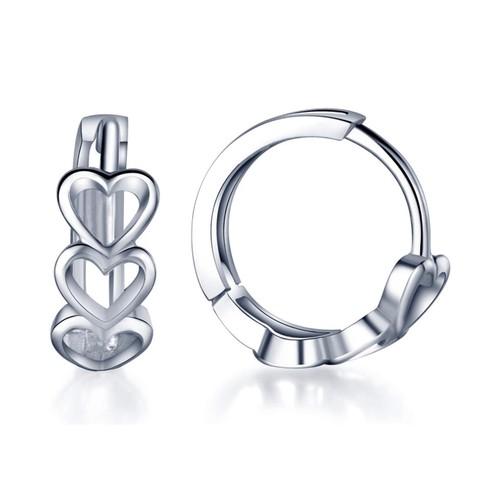 Tri Heart Petite Huggie Earrings