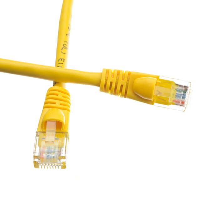 Cat6a Yellow Ethernet Patch Cable, Snagless/Molded Boot, 500 MHz, 50 foot