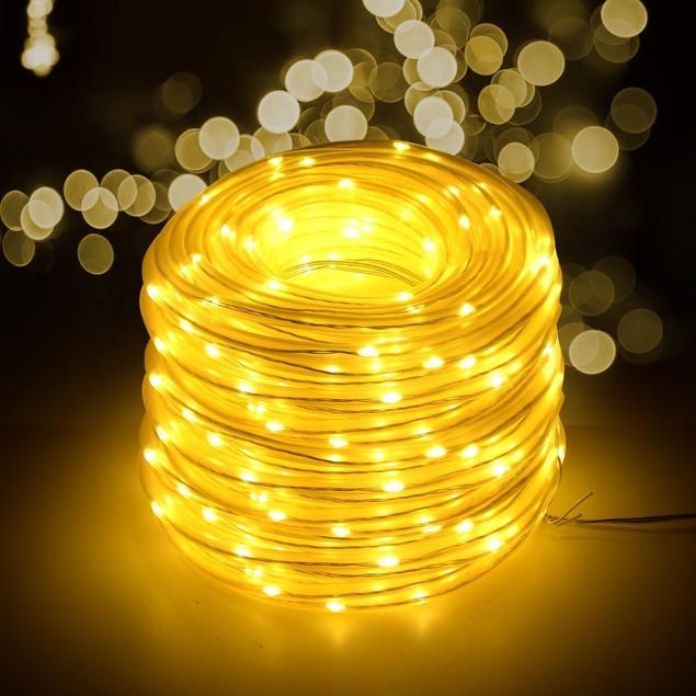 AGPtek Solar String Lights 78.7FT 200LED Waterproof Rope Lights,Warm White