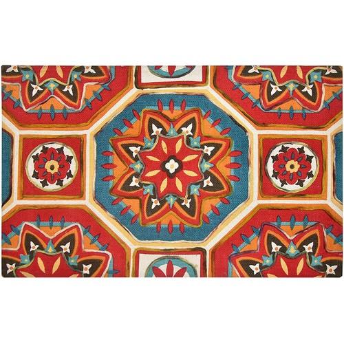 Spura Home 45X27 Handmade Matrix Design Printed Embroidered Area Rug Carpet