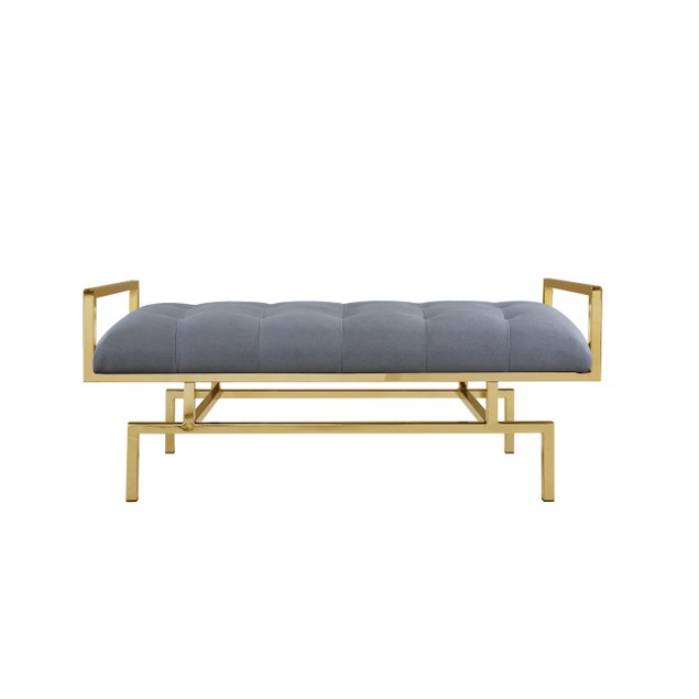 Chic Home Bill Leather Tufted Seating Goldtone Metal Leg Bench