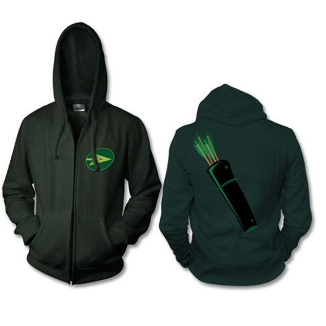 Green Arrow Zip Up Hoodie Costume Oliver Queen Ollie Archer Bow Sweatshirt