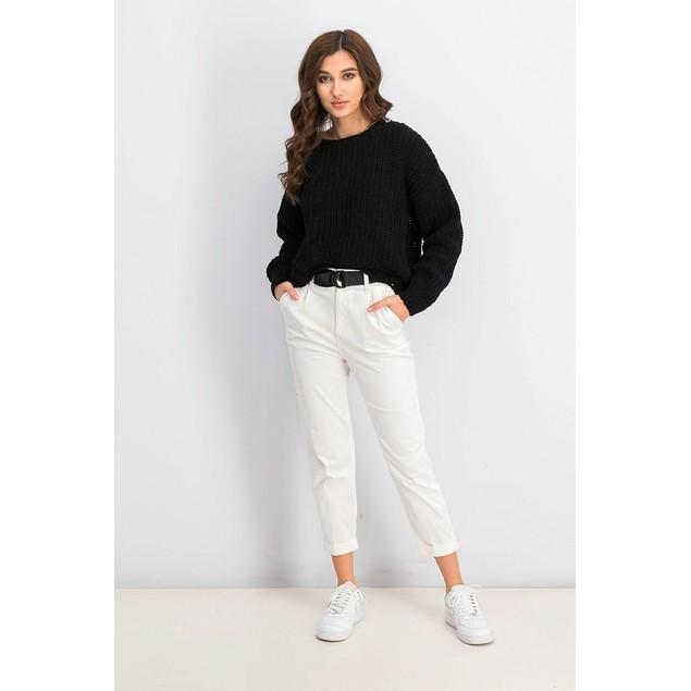WYNTER Women's Pointelle Hem Chenille Sweater Black Size Small