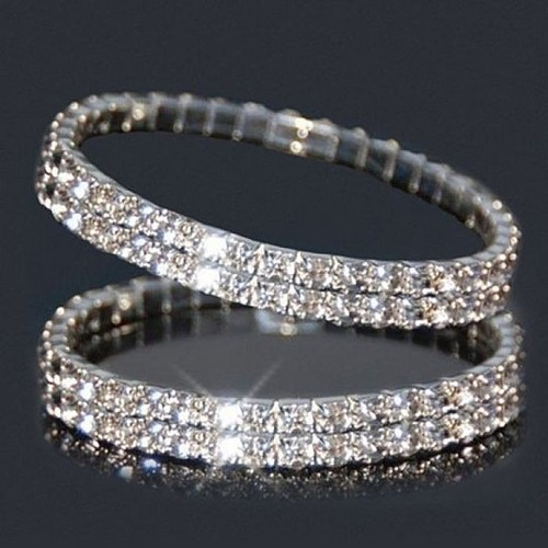 2-Pack- 2 Tier Austrian Crystal Bracelet