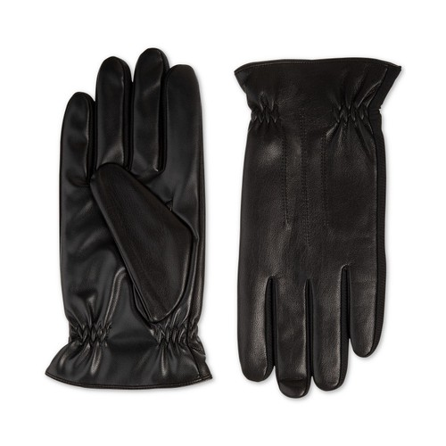 Isotoner Signature Men's Faux-Leather Gloves Black Size Large