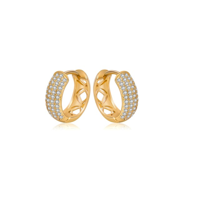 18KT Yellow Gold Crystal Huggies Earrings