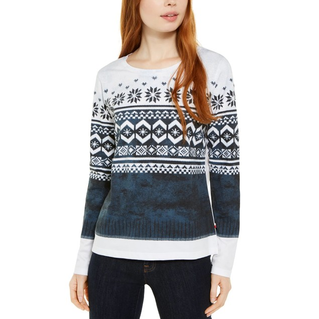Tommy Hilfiger Women's Fair Isle Cotton Top White Size Small