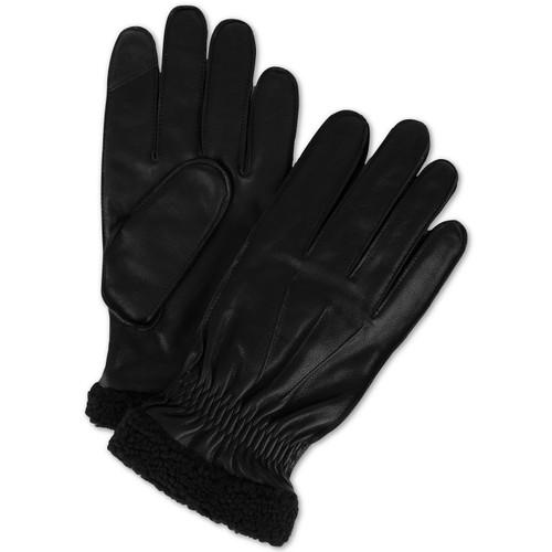 Tommy Hilfiger Men's Boulder Leather Touch-Screen Gloves Black Size Large