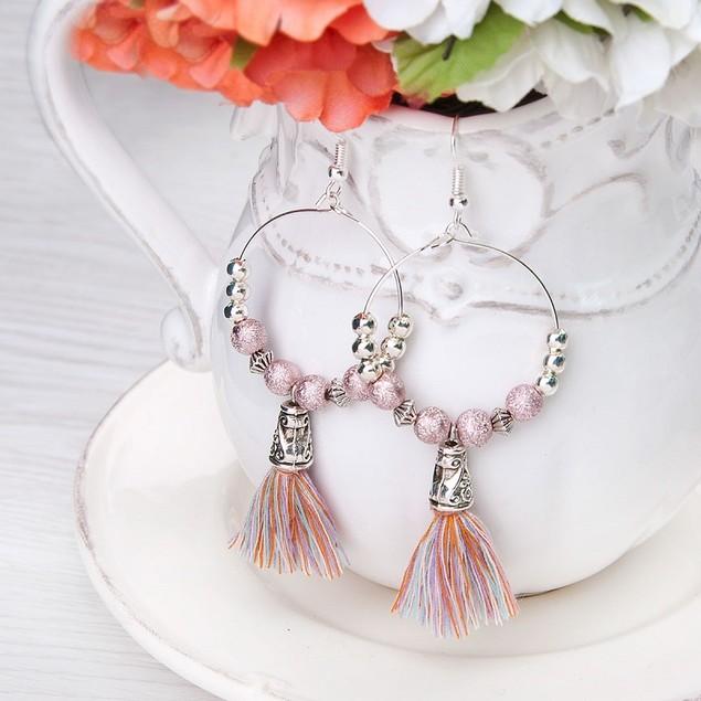 Multicolor Tassel Beaded Earrings