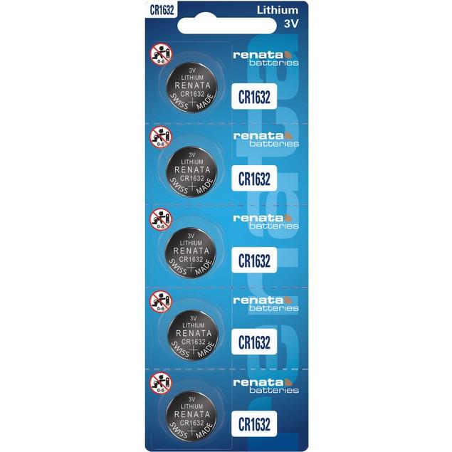 Renata CR1632 Lithium Coin Cell Batteries (5 Batteries)