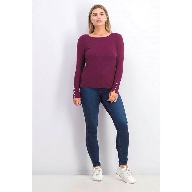 JM Collection Women's Crewneck Sweater Berried Treasur Size Petite Medium