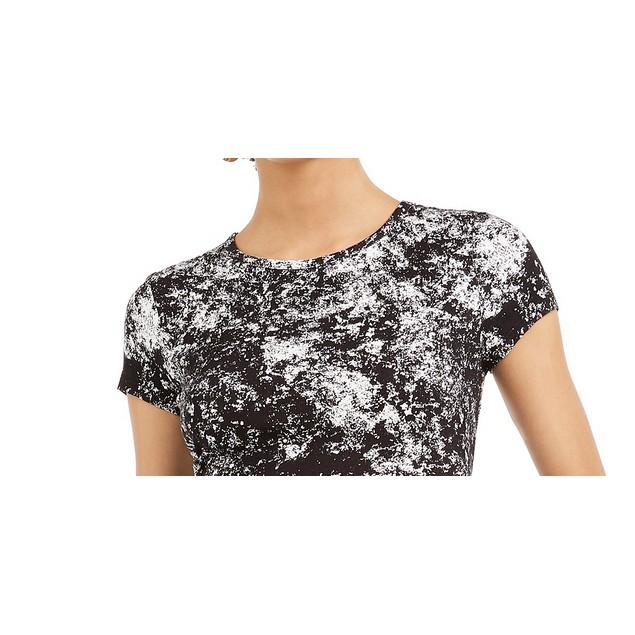 Bar III Women's Printed Crew-Neck Crop Top Black Size X-Large