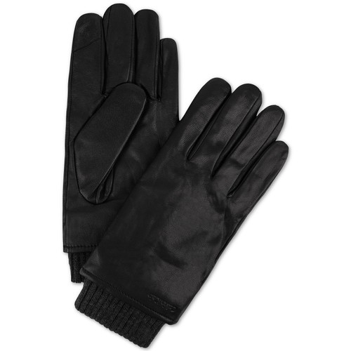 Calvin Klein Men's Ribbed-Insert Leather Gloves Black Size Medium