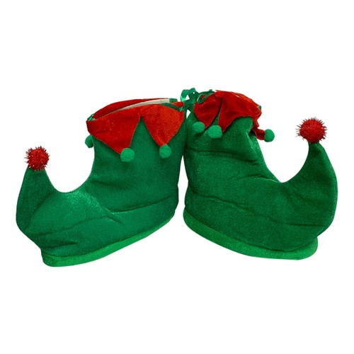 Green Elf Shoes With Red Details