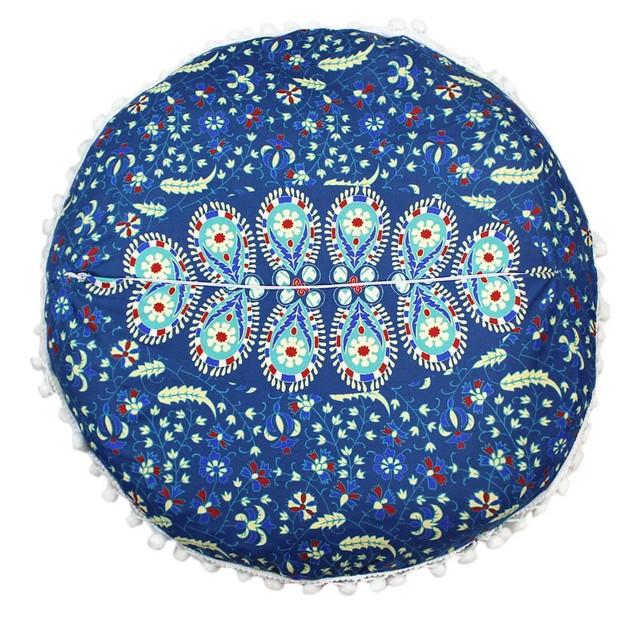 Indian Mandala Pillows Round Bohemian Home Cushion Pillows Cover Case A