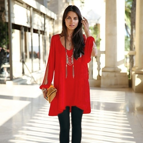 Summer Chiffon Tunic with Slit Sleeves - 6 Colors