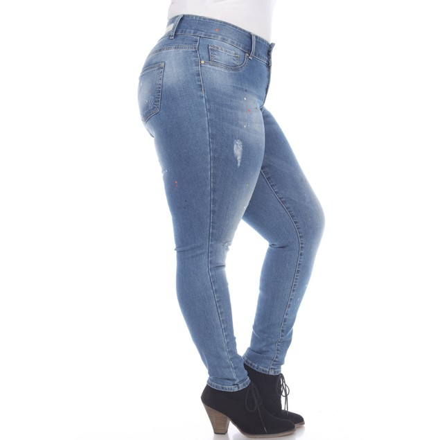 Paint Effect Light Blue Denim - Plus Size