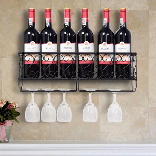 Wall Mounted Metal Wine Rack Wine Bottle Storage w/ Glass Holder Home Bar D