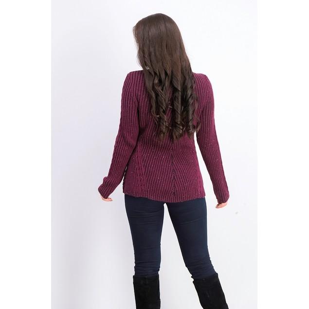Style & Co Women's Scalloped Hem Ribbed Knit Sweater Dark Red Size Medium