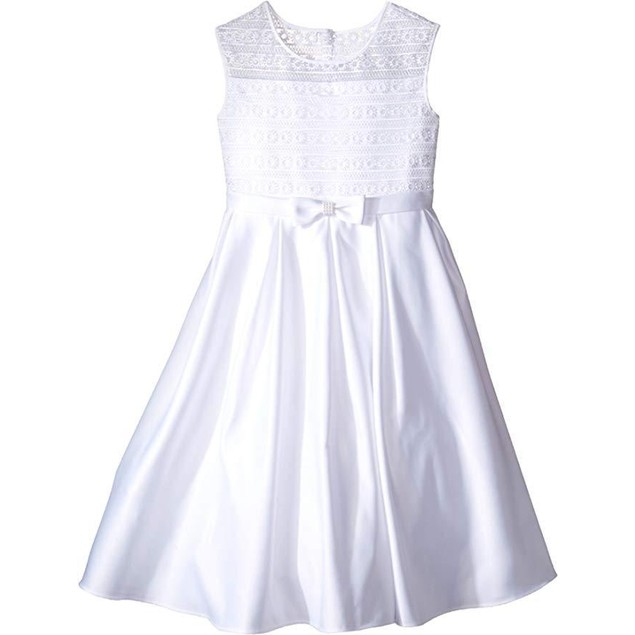Us Angels Girl's Organza & Satin Sleeveless Dress w/Box Pleat SZ 8