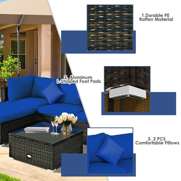 Costway 5PCS Outdoor Rattan Sectional Patio Set