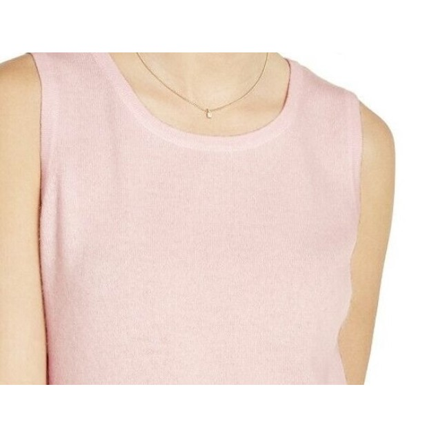 Charter Club Women's Sleeveless Crew-Neck Sweater Pink Size Large
