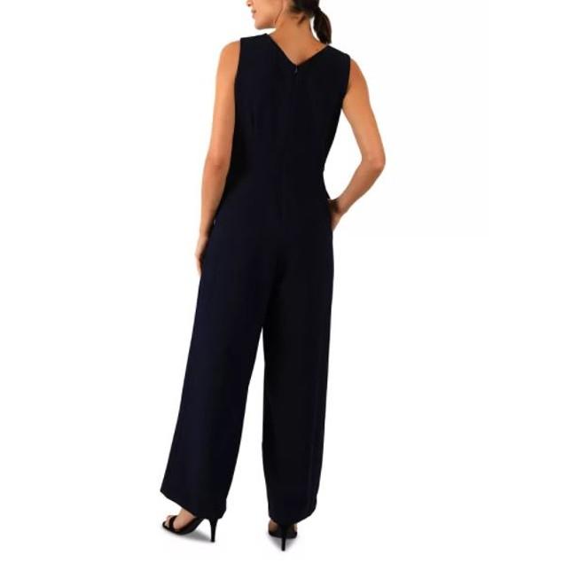 Donna Ricco Women's Sleeveless Crepe Jumpsuit Blue Navy Size 12