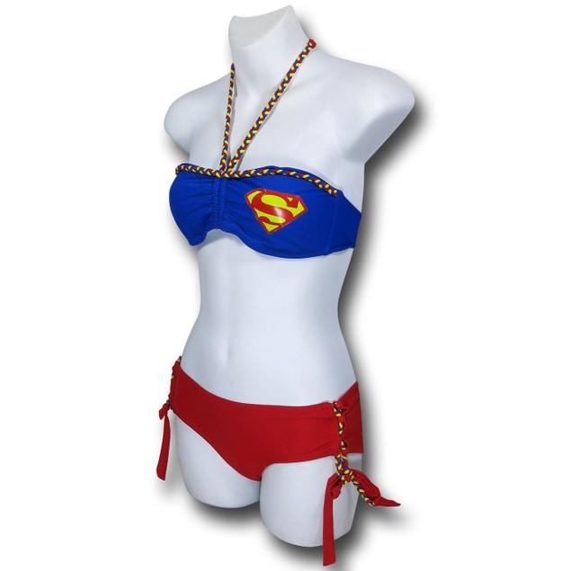 Supergirl Bandeau Lace-Up Bottom Bikini