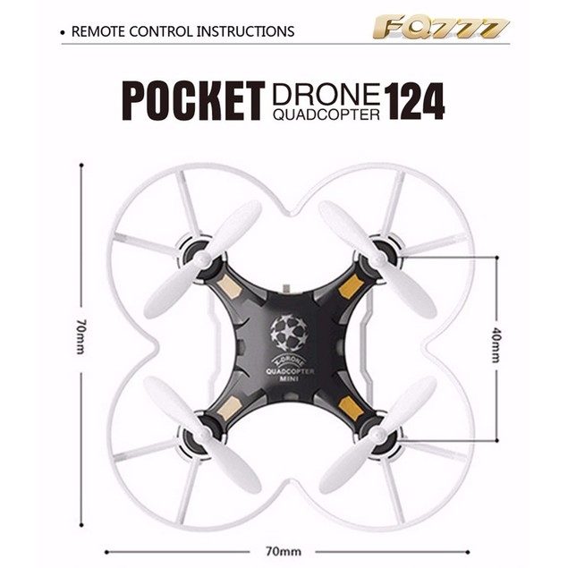 FQ777-124 Micro Pocket Drone 4CH 6Axis Gyro Switchable Controller
