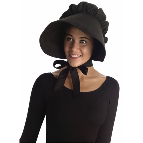 Black Bonnet Colonial Pilgrim Quaker Amish Pioneer Prairie Hat Cap Adult