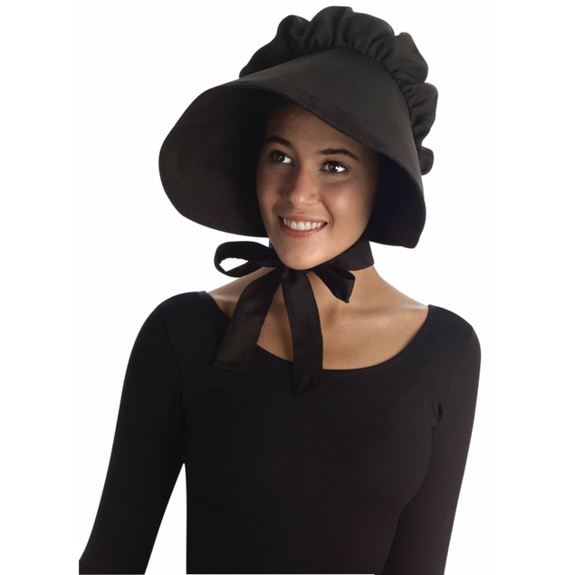 Black Bonnet Colonial Pilgrim Quaker Amish Pioneer Prairie Hat Cap Adult