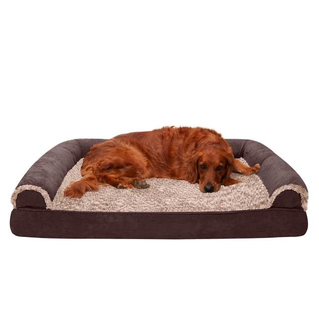 FurHaven Two-Tone Faux Fur & Suede Memory Foam Sofa Pet Bed