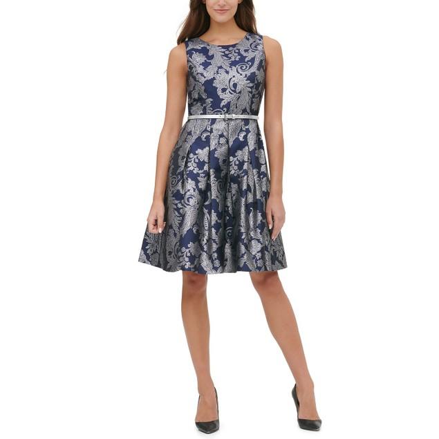 Tommy Hilfiger Women's Jacquard Fit & Flare Dress Blue Size 12