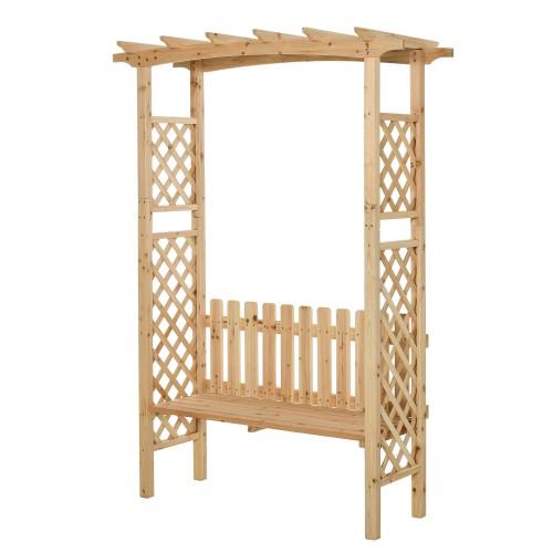 Outside Backyard Ergonomic Arch w/ 2 Person Ergonomic Bench & Strong Build