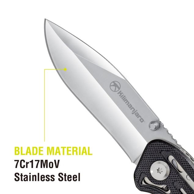 Kilimanjaro Caula 7-1/2 inch Folding Knife with Black Satin Finish - 910022