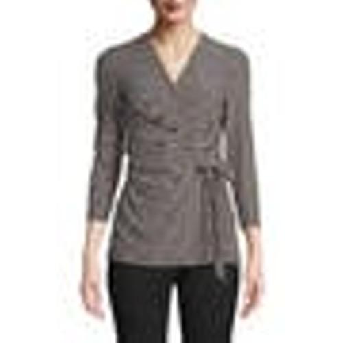 Anne Klein Women's Dot Grid Faux Wrap Top Black Size Medium