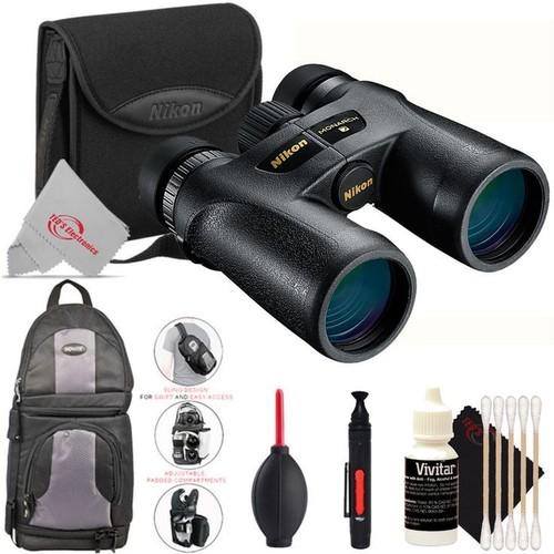 Nikon 10x42 Monarch 7 ATB Binoculars (Black) + Backpack + Lens Pen + Dust Blower + Cleaning Kit