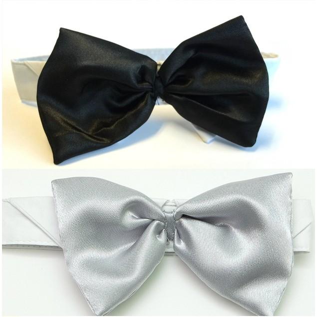 Midlee Satin Bow Tie Dog Wedding Collar