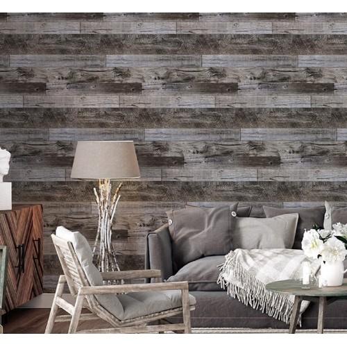 "92048-2 Peel and Stick Wood Plank Wallpaper Shiplap 17.7""x 19.7ft"
