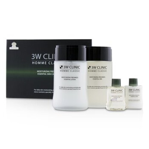 3W Clinic Homme Classic - Moisturizing Freshness Essential Skin Care Set: Essential Skin 150ml+30ml + Essential Lotion 150ml+30ml