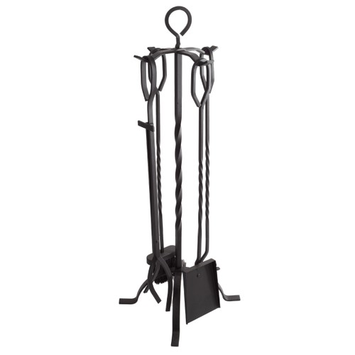 Metal Fireplace Tool Set and Stand 5 Pc Set