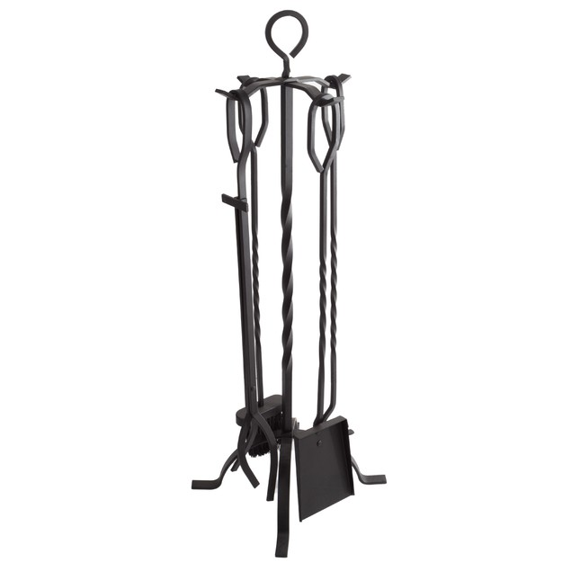 Metal Fireplace Tool Set and Stand 5 Pc Set